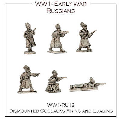 WW1-RU12 Russian Early War Dismounted Cossacks Firing - (32 figures + 4 bases)