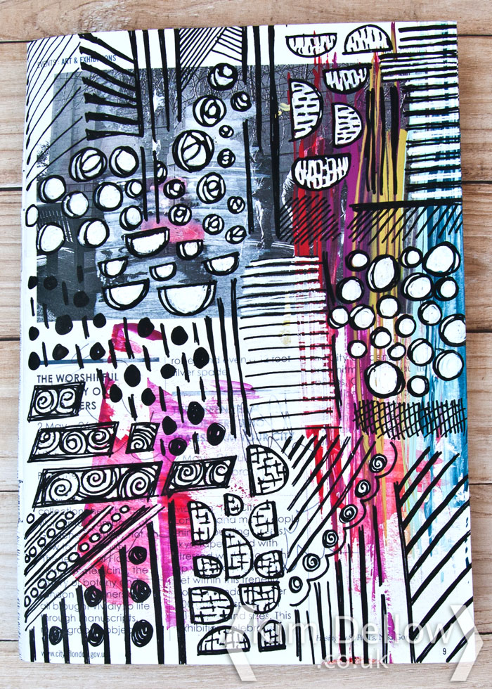 Kim Dellow filling pages in her art journal with pattern