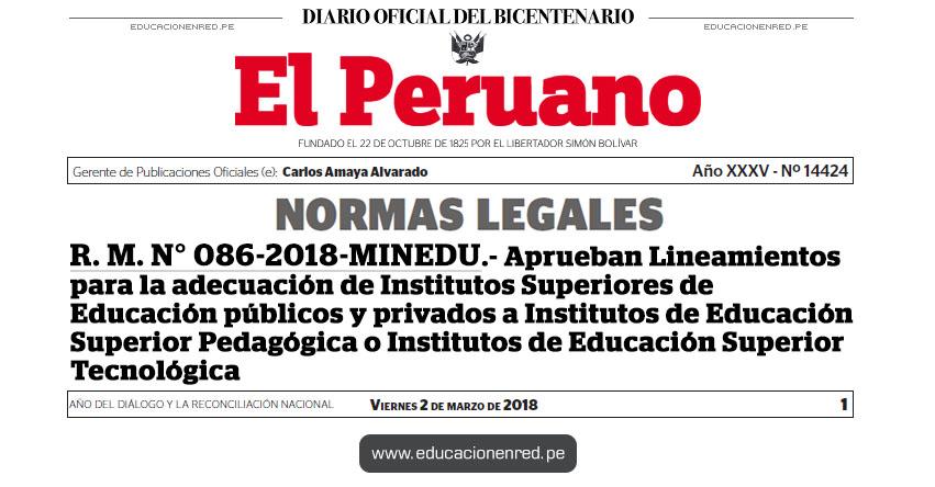 R. M. N° 086-2018-MINEDU - Aprueban Lineamientos para la adecuación de Institutos Superiores de Educación públicos y privados a Institutos de Educación Superior Pedagógica o Institutos de Educación Superior Tecnológica - www.minedu.gob.pe
