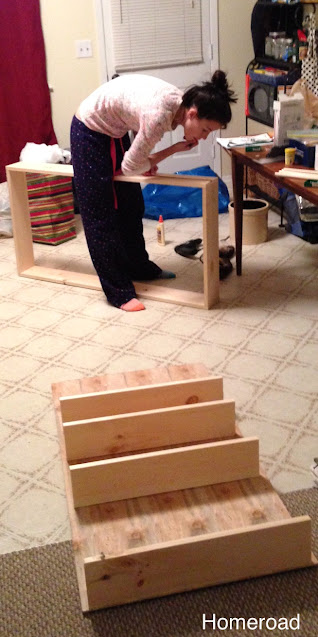 Woman creating a box for the first step