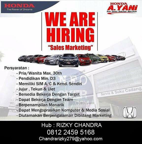 Lowongan Kerja Honda Ahmad Yani Bandung