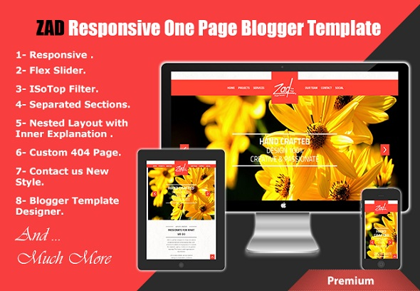 ZAD Responsive One Page Blogger Template Preview
