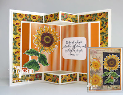 Our Daily Bread Designs Stamp Set: Be a Sunflower, Paper Collections: Follow the Son Paper,  Fall Favorites, Fun and Fancy Fold Card Kit: Book Fold, Custom Dies: Rounded Rectangles, Sunflower