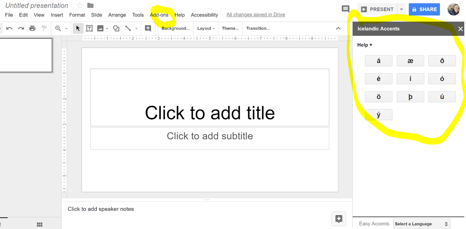 easy accents for google slides todoele 2 0