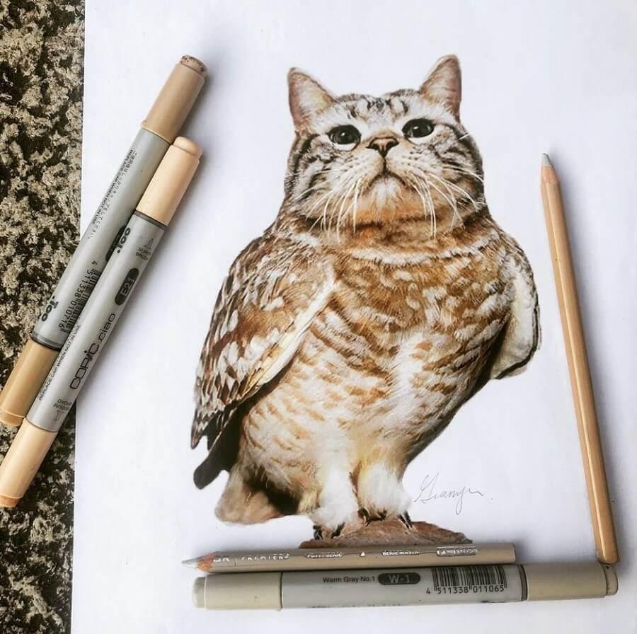 02-Barn-Owl-Cat-Guanyu-Animal-Mashup-www-designstack-co