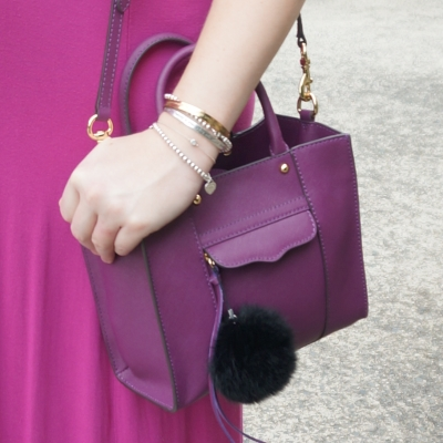 AwayFromTheBlue | Rebecca Minkoff mini MAB tote in plum with faux fur pom pom charm