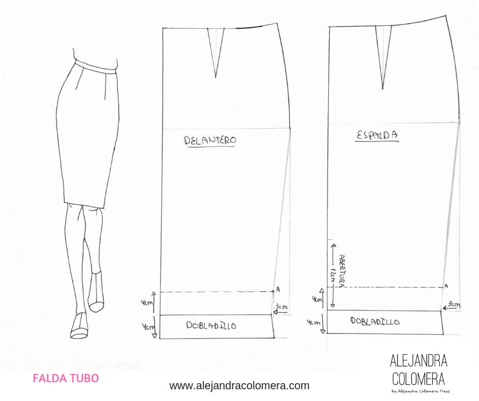 Resultado de imagen para falda tubo con patrones