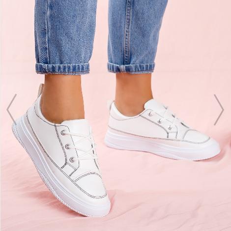 Pantofi sport dama albi simpli de vara foarte ieftini din piele eco