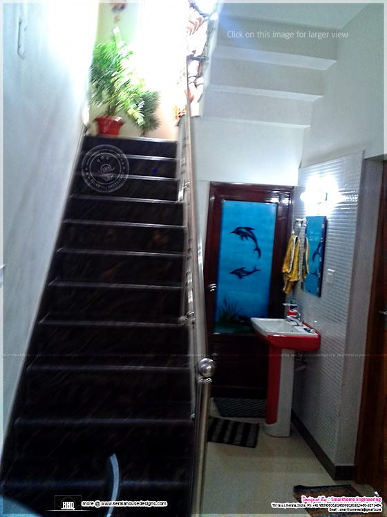 Staircase and wash area