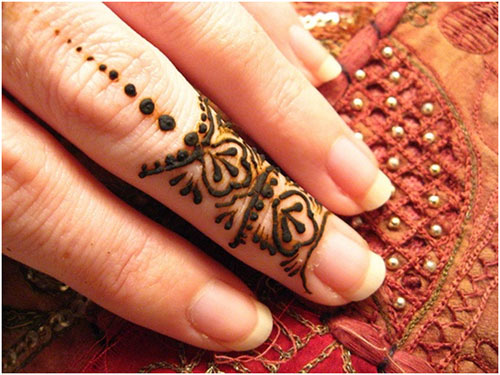 Floral and Dotted Design For Fingers