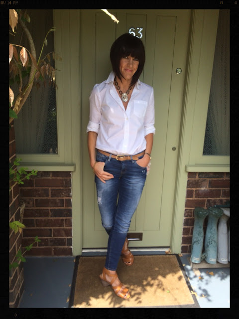 My Midlife Fashion, Zara, White shirt, classic, skinny jeans, Clarks, Yosa, tortoiseshell necklace