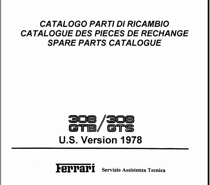 Free Automotive Manuals: FERRARI 308 PARTS CATALOG