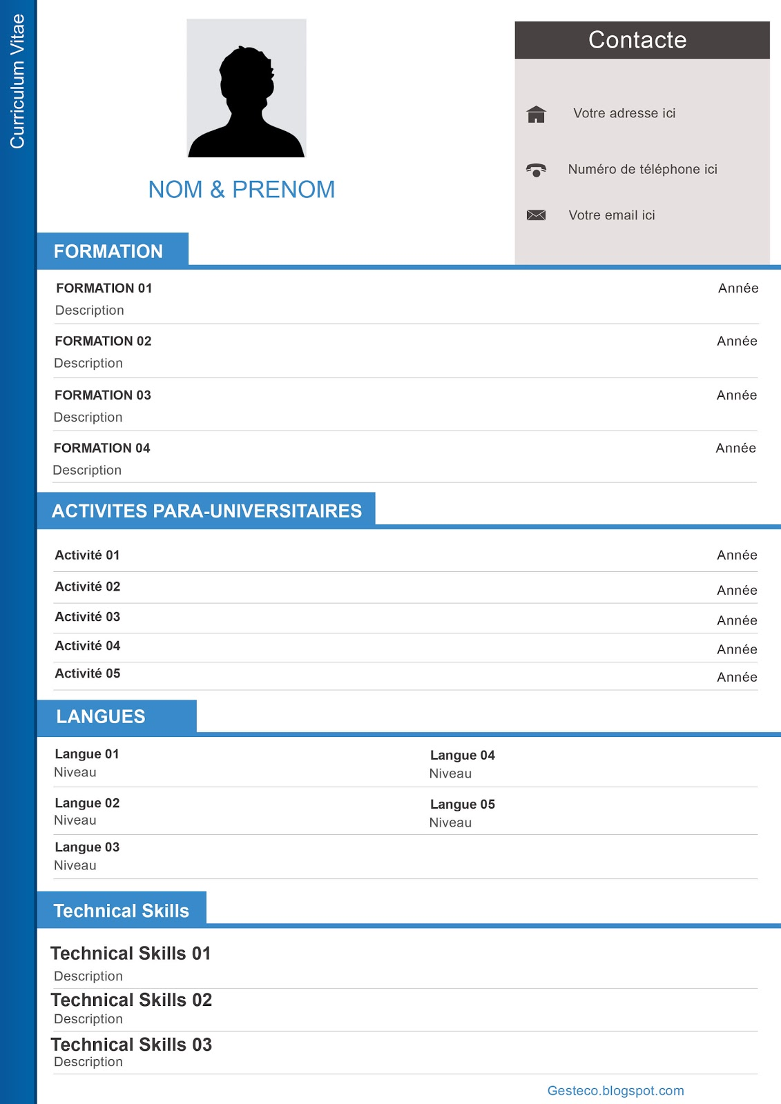 modele cv gratuit modifiable
