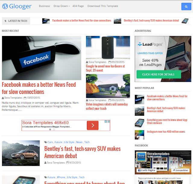 Glooger Magazine Blogger Template