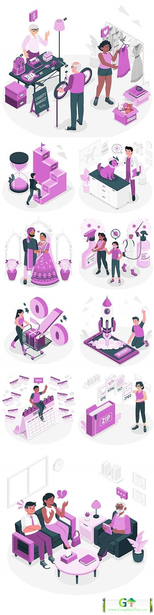 People of different professions and lifestyle isometric illustrations 5