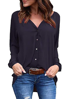 this image relates Women's Casual V Neck Cuffed Long Sleeve Button Down Shirts Blouses Tops