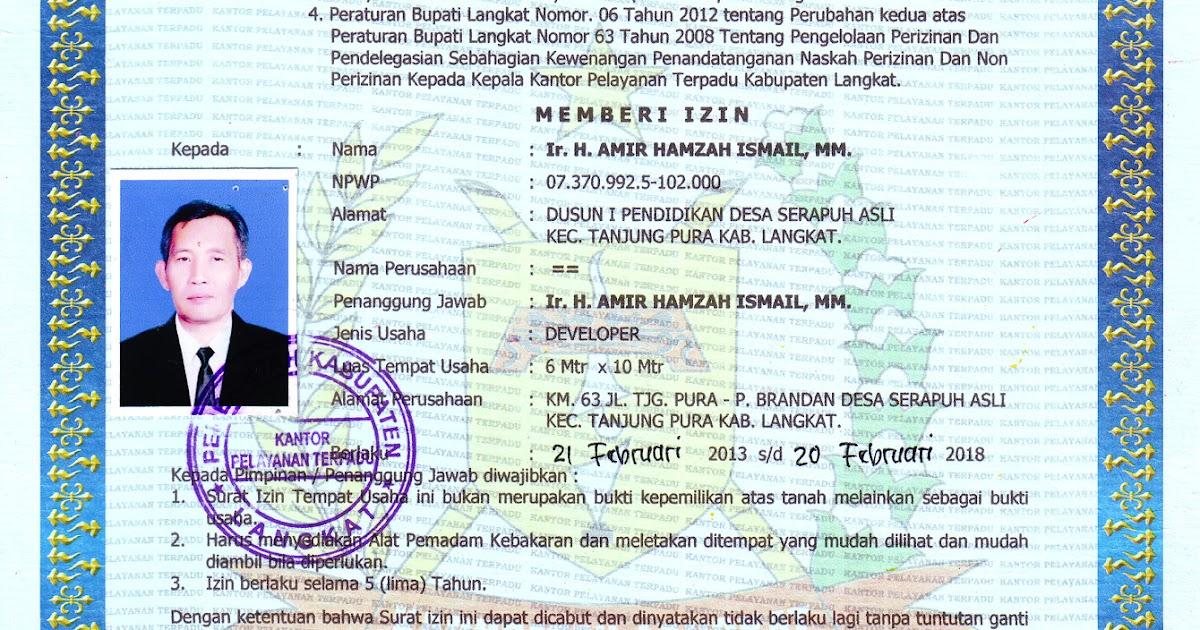 Perumahan MELAYU INDAH PERMAI Residence: Surat Izin Tempat ...