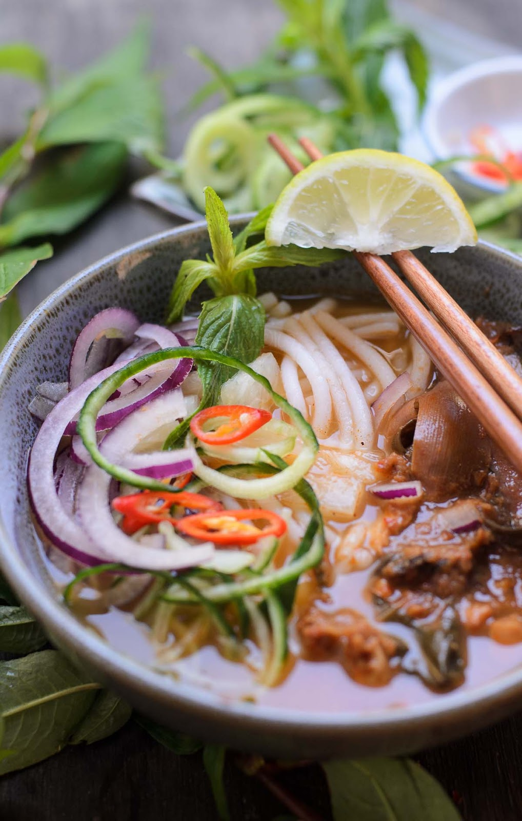 Rice Noodles In Asian Fish Soup Asam Laksa Lisa S Lemony Kitchen