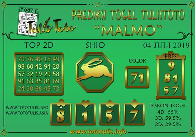 Prediksi Togel MALMO TULISTOTO 04 JULI 2019