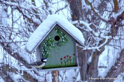 cabane à oiseaux, neige et mésange