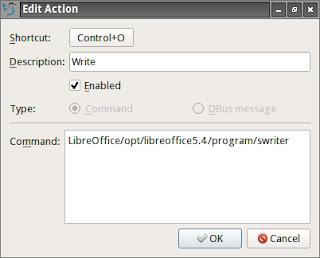 Atalhos do Appimage LibreOffice para utilizar no teclado