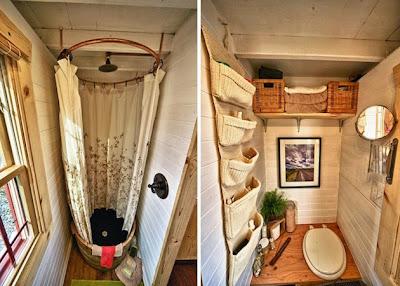 Baño y regadera en cabaña hecha a  mano