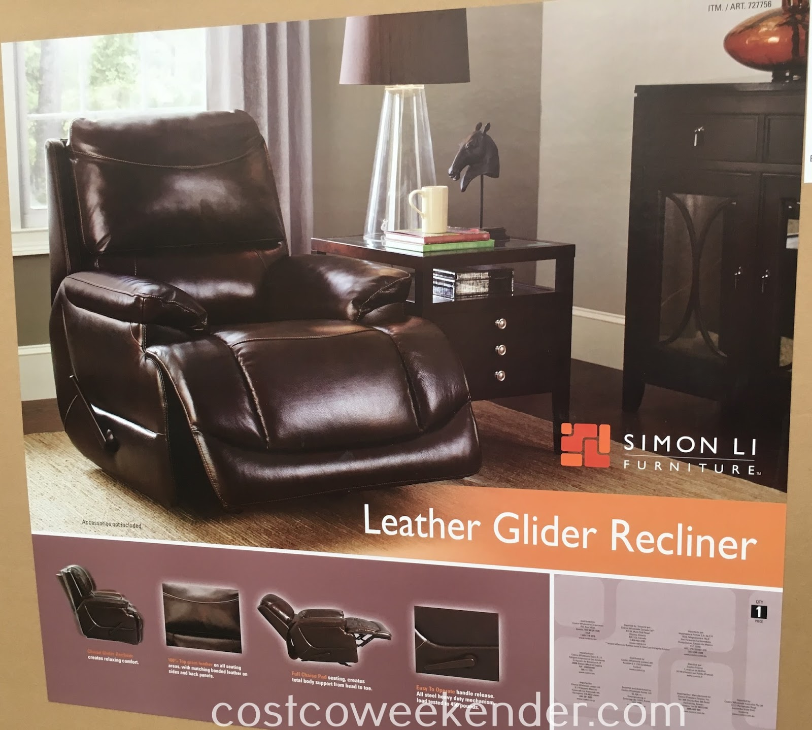 Costco 727756 - Simon Li Leather Glider Recliner Chair: great for any home