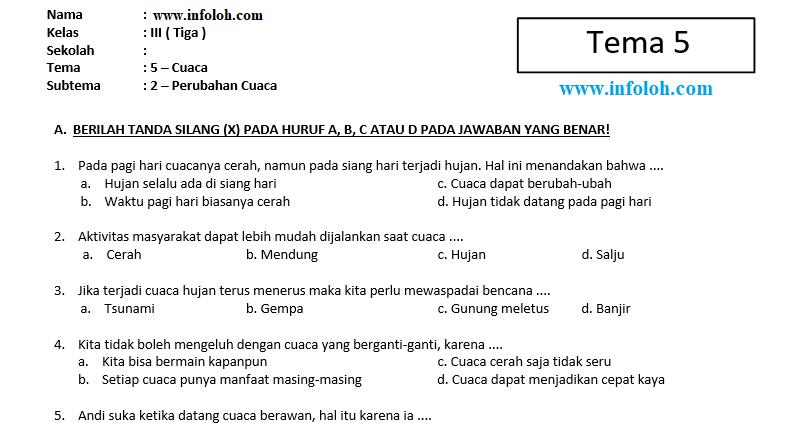 Contoh Soal Tematik Tema 5 Kelas 3 Guru Ilmu Sosial