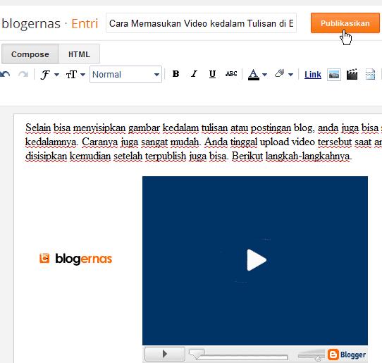 Cara Upload Video kedalam Entri Baru Blogger