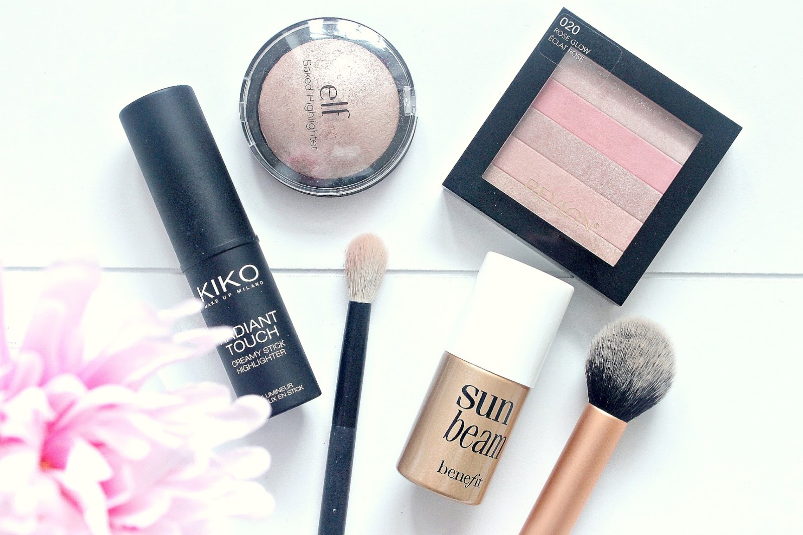 Glowy Skin on dull days flatlay with KIKO, Benefit, elf, Revlon
