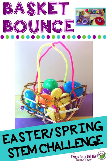 Spring or Easter STEM Challenge: In Basket Bounce, students design a basket that holds six eggs and performs well in the Basket Bounce Relay Race! Includes modifications for grades 2-8.