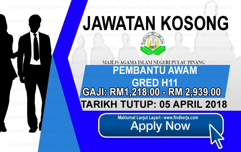 Jawatan Kerja Kosong MAINPP - Majlis Agama Islam Negeri Pulau Pinang logo www.findkerja.com april 2018