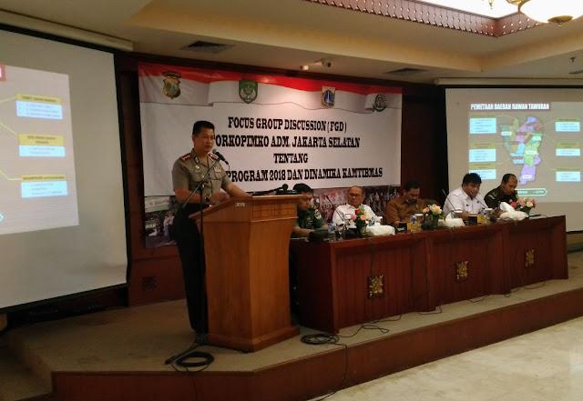 "Tiga Pilar Jakarta Selatan Hadiri Kegiatan FGD Forkopimko ""Program 2018 dan Dinamika Kamtibmas"""