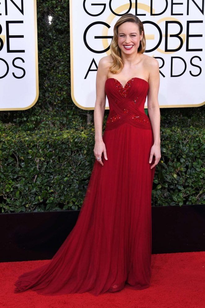 Brie Larson flaunts strapless red dress at the 2017 Golden Globes