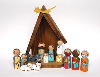 under angel wings etsy nativity set colorful folk