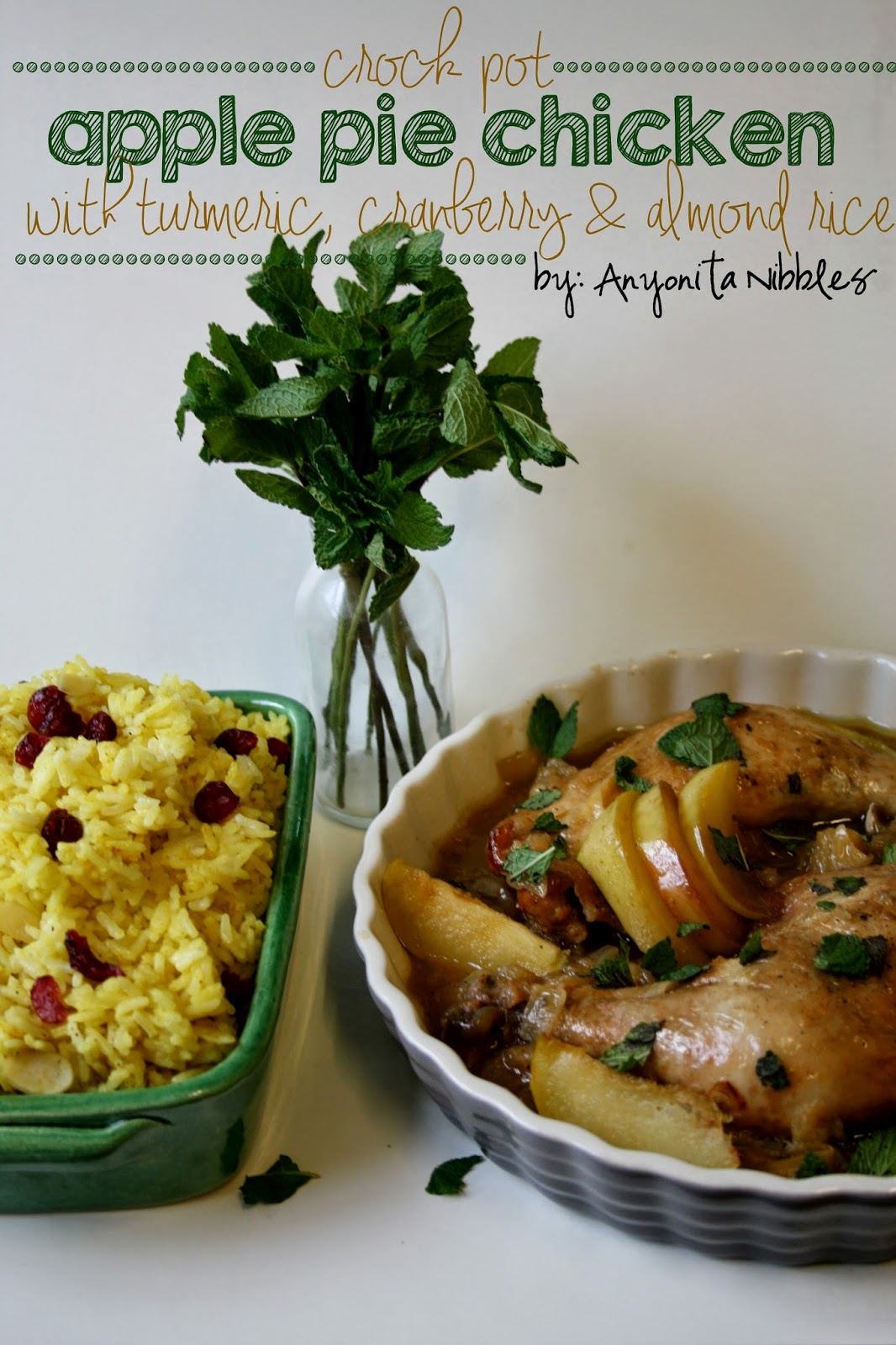Delicious and unusual #easterdinner Crock Pot Apple Pie Chiken with Turmeric, Cranberry & Almond Rice | Anyonita Nibbles