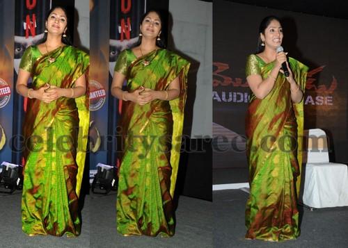 e824310d5df54 Telugu TV anchor Jhansi wearing parrot green light weight sravana pattu  saree