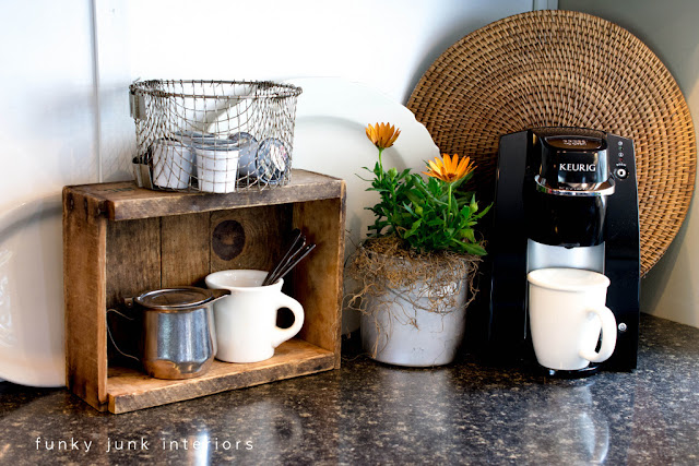 Coffee pod storage with a crate and a basket via https://www.funkyjunkinteriors.net/