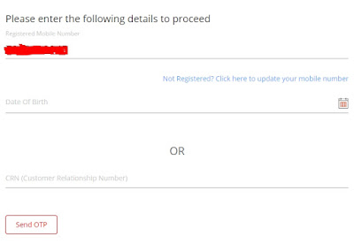 kotak know your balance page with mobile number entered