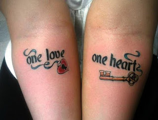 Lock and key tattoo for couple
