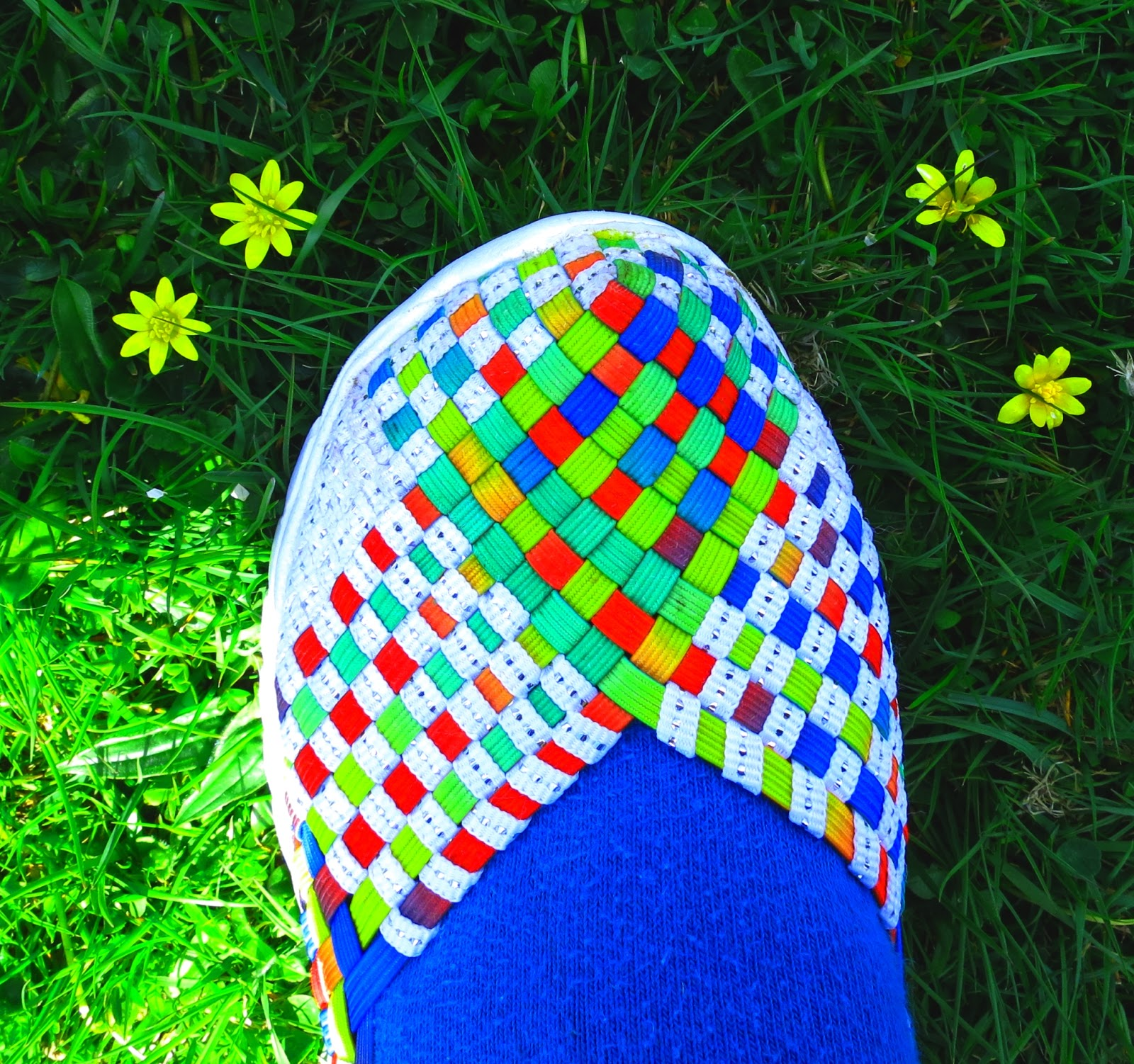 Me new and multi-coloured shoe.