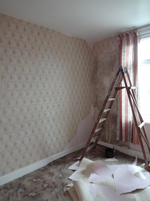 removing wallpaper to discover 70s wallpaper