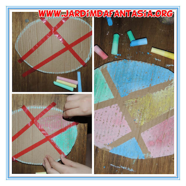 Atividade Artes Páscoa Origami e Pintura com giz molhado