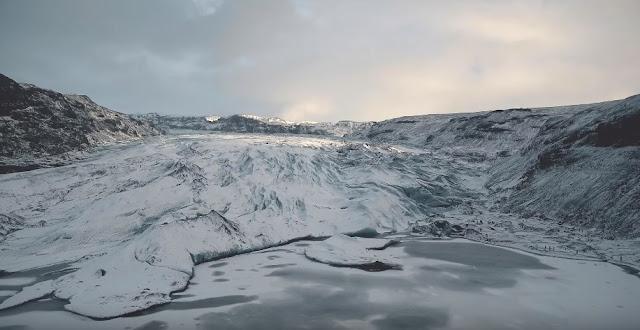 Beautiful Mýrdalsjökull glaciers in Iceland