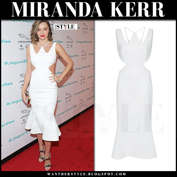 76c72000e2d6 Miranda Kerr in white cutout flare midi dress david koma and silver spiked  sandals louboutin miziggoo