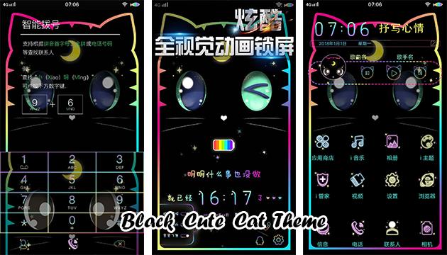 VIVO Smartphone Theme: Black Cute Cat Theme - RQA WORLD