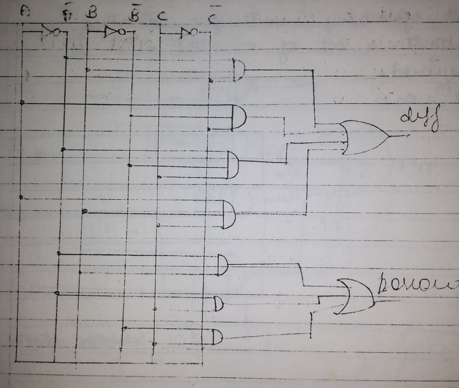 hight resolution of logic diagram of full subtractor circuit