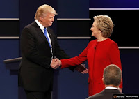 Donald Trump and Hillary Clinton shake hands ahead of the first presidential debate. (Credit: Reuters/Mike Segar) Click to Enlarge.