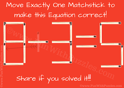 Answer of Easy Mathematical Matchstick Puzzle for Kids