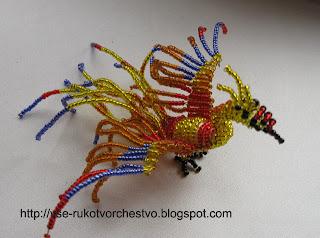 Птица Феникс из бисера